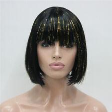 Lady Women Wig Fashion Short Curly Wigs Black Straight Hair Wig+Wig Cap