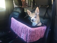 """Small Black Dog Car Booster Seat (""""Pink Fringe"""" black lining) Dogs Out Doing *"""
