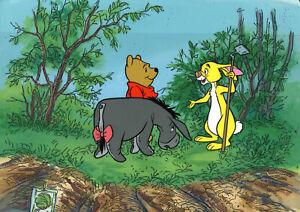 Disney 1970 Winnie the Pooh,Eeyore,Rabbit Original Production Cel On Key Set Up