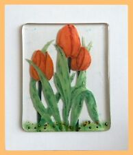 Handmade original Fused Glass Picture: 'TULIPS'.