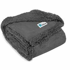 Waterproof Dog Blanket for Bed, Couch, Sofa | 90 x 90 Inches Gray/Gray Sherpa