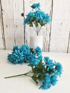 5 Mums Bush Silk Artificial Chrysanthemum Fake Flowers Bouquet Arrangement Fall