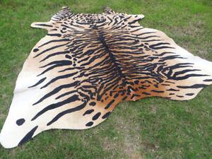 LARGE ! TIGER BENGAL print printed Cowhide Rug natural Cow Hide Skin beige zebra