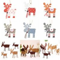 Xmas Tree Pendants Hanging Wooden Elk Christmas Home Party Supplies Decorations