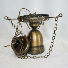 Vintage Hanging Lamp Brass & Glass Frame Electric Light Lamp Repair Refurbishing