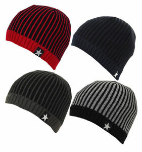 A * Polar Fleece Lined Pull On Striped Star Thick Chunky Beanie Ski Cap Hat