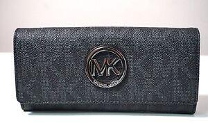 Michael Kors Black MK Signature Fulton Flap Continental PVC Clutch Wallet