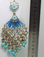 Indian Maang Tikka Head Chain Earring Set Bollywood Style Gold Rhinestone Pearls