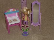 Fisher Price Loving Family Dollhouse Girl Lot: Mirror, Desk, Blonde Girl, Flower