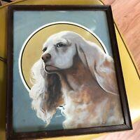 Vintage Painting Schreiber dog spaniel profile moon art deco signed
