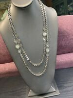 """Vintage 1950's Silver Detailed Extra Long  Harm Chain Sweater Necklace 52"""""""