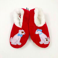 NWT Snoozies Red With Dogs Slippers Non Skid US Size M 7/8