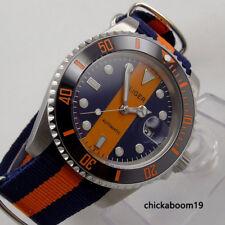 40MM orange blau uhr Zifferblatt Keramik Lünette MIYOTA Automatikwerk Herrenuhr