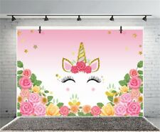 Cute Unicorn Eyes Flower 7x5ft Photography Backgrounds Birthday Vinyl Backdrops