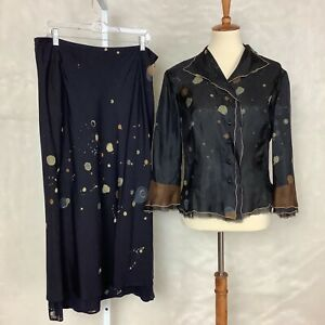 Vintage 90s Yumi Eto Splatter Silk Blouse & Skirt Set EU 46 US Large