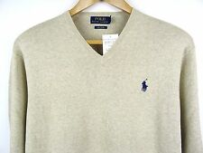 NEW MENS 100% GENUINE RALPH LAUREN V-NECK COTTON JUMPER BEIGE XL RRP £110