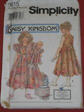 "SIMPLICITY Sewing Pattern 0615 Daisy Kingdom  Sz. 8-14 +17"" Doll Dress UNCUT"