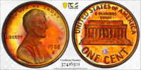 1988-S Lincoln Memorial Cent Penny 1c PCGS PR66 RB  AWESOME RARE RAINBOW TONING