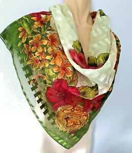 Large Shiny Green Red Yellow  Floral Semi Sheer Vintage Scarf