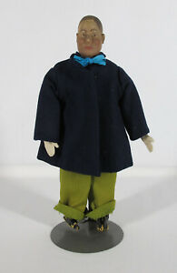 """Antique Wooden Head Hand Carved Male 13"""" Doll Cloth Body Puppet Marionette yqz"""