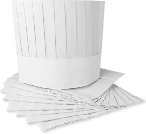 White Disposable Paper 9 inch Tall Chef Hats Kitchen Cook Caps Restaurant Hat