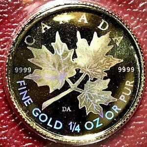COLORFUL HOLOGRAM 2001 CANADA 1/4 OZ .9999 GOLD MAPLE LEAF