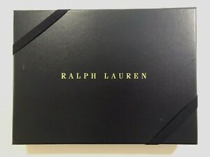 """RALPH LAUREN Blue Gift Box With Ribbon and Tissue Paper PERFECT CHRISTMAS 10X13"""""""