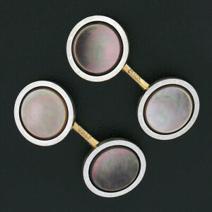 Men's Antique 14k TT Gold Black Mother of Pearl w/ Grooved Rim Round Cuff Links