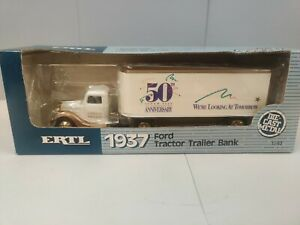 1937 FORD SEMI TRUCK ERTL COIN BANK with KEY - NIB super value 50 anniversary.