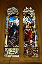 "+100 yr. old Stained Glass Window (#1 of 6) ""The Flight to Egypt"" + chalice co."