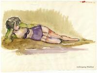 Nachlass Irma Siegert: Weiblicher Halbakt, aquarellierte Tuschezeichnung um 1950
