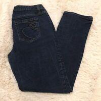 Women's APT. 9 Straight Leg Dark Stretch Mid Rise Denim Blue Jeans - 12