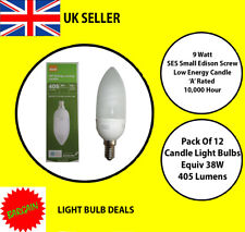 PACK OF 12 X 9 WATT SES LOW ENERGY CANDLE BULB  A RATED 10000 HOUR A RATED NEW