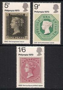 GB 1970 sg835-837 Philympia '70 Stamp Exhibition 'Penny Black' set MNH