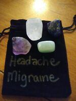 Gemstone HEADACHE/MIGRAINE healing Set 4 Tumble Stones & Carry Pouche
