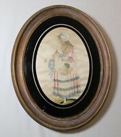 antique 19th century Victorian lady silk embroidered needlepoint hand embroidery