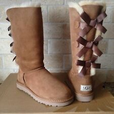 UGG Triple Triplet Bailey Bow Tall Chestnut Suede Fur Boots Size US 8 Womens