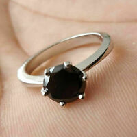Solitaire Engagement Ring 0.50Ct Round Cut Black Diamond 14k White Gold Finish