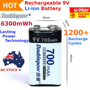 9v Rechargeable Lithium Li-Ion Battery 6300mWh Smoke Alarm 1200+ Recharge Cycles
