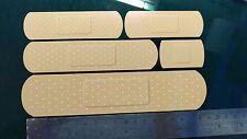 Etiqueta Engomada del Coche Yeso Bandaid Calcomanía x5 Varios Tamaños rayas cubierta de reparación broma VAG
