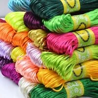 20 Meter 2.5mm Braided Macrame Satin Silk Cord Chinese Knot Nylon Rattail Thread