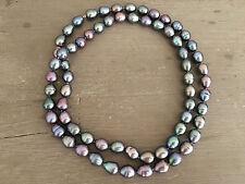 TAHITI Luxus Perlen Kette Collier regenbogenfarben Orient 80 cm / 1,0-1,2 mm