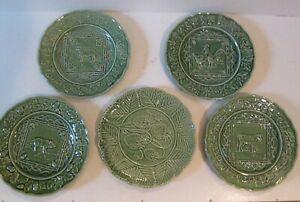 5 Vintage Bordallo Pinheiro Embossed Majolica Plates