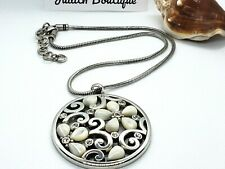 BRIGHTON JASMINE Mother of Pearl Flower LARGE Round Pendant NECKLACE