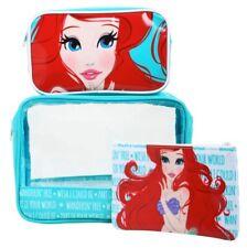 New 3pc Set Disney Little Mermaid Ariel Travel Cosmetic Makeup Bag Aqua Red