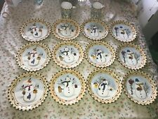 14 Lillian Vernon Snowman Holiday Dessert Plates & Coffee Mugs Ceramic Christmas