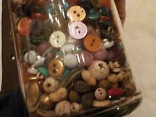 Vintage Jar With Assorted Buttons And Other Items