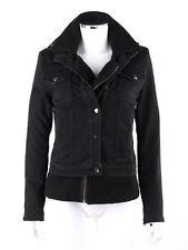 CURRENT ELLIOTT Black Denim Wool Dual Layer 2-in-1 Jean Jacket Coat Size 1