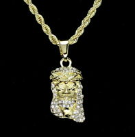 "Mini Jesus Piece Cz 14k Gold Plated w/ 24"" Rope Mens Womens Necklace Hip Hop"