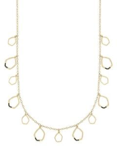 The Sak Womens CZ Open Pendant Long Necklace Gold Metal 28 Inches
